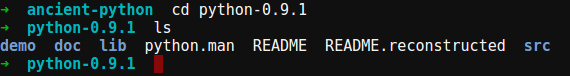 "Folders: ""demo"", ""doc"", ""lib"", ""src""; Files: ""python.man"", ""README"", ""README.reconstructed"""