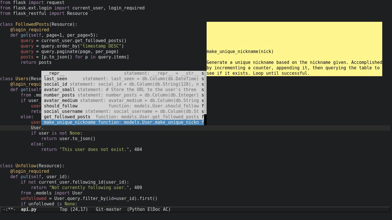 Emacs python docs