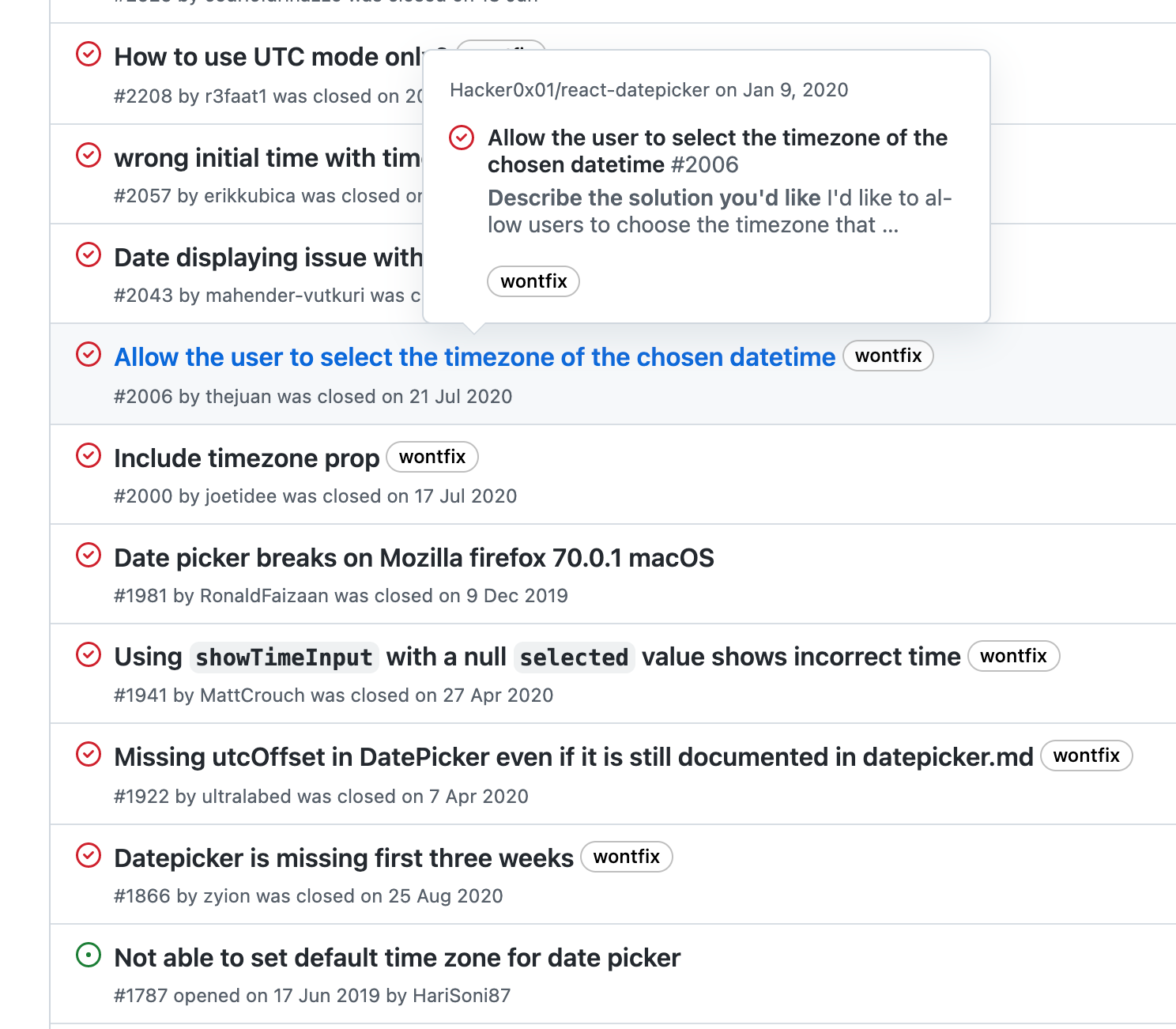 Many, many issues in GitHub with titles describing issues with setting timezones with React Datepicker