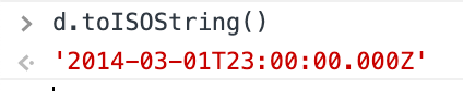 First line, a JavaScript prompt: d.toISOString(). Second line, the evaluated expression: '2014-03-01T23:00:00.000Z'.